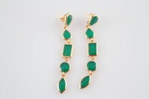 Isharya Emerald Green Shattered Enamel Earrings