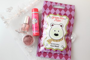 Face Mask, Nail Polish, Glitter, and Lip Balm