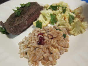 Warm Farro Salad, Spice Rubbed Flat Iron Steak with Roasted Cauliflower