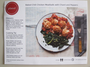 Baked Chili Chicken Meatballs with Chard and Peppers