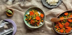 Carrot Kari with Garbanzo Beans over Basmati Rice