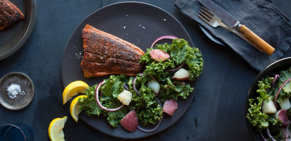 Berbere Salmon with New Potatoes and Kale