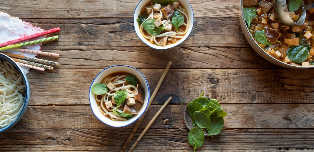 Mushroom and Leek Udon with Tofu and Spinach