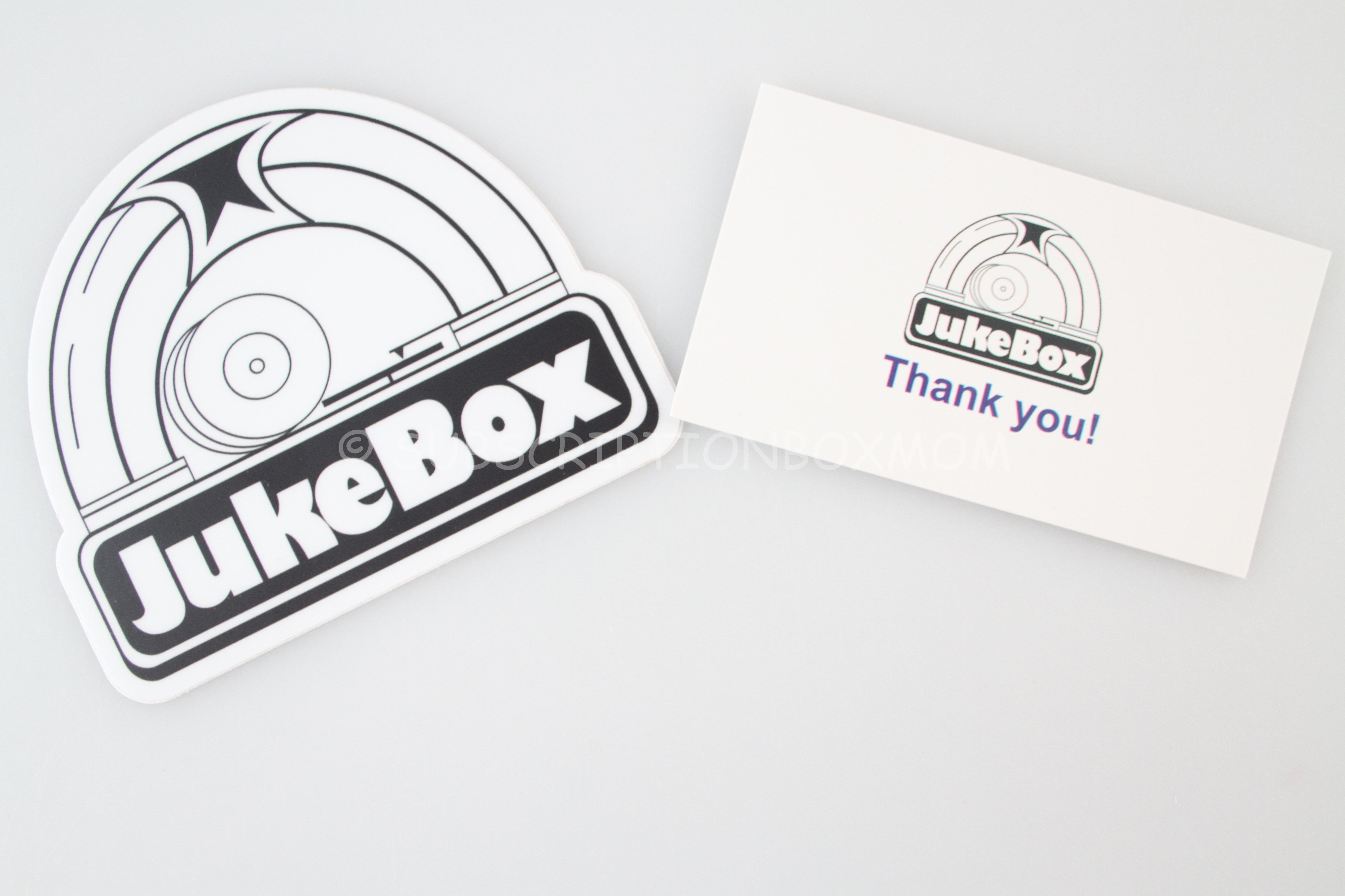 There was a jukebox sticker and a little business card with their twitter and facebook handles