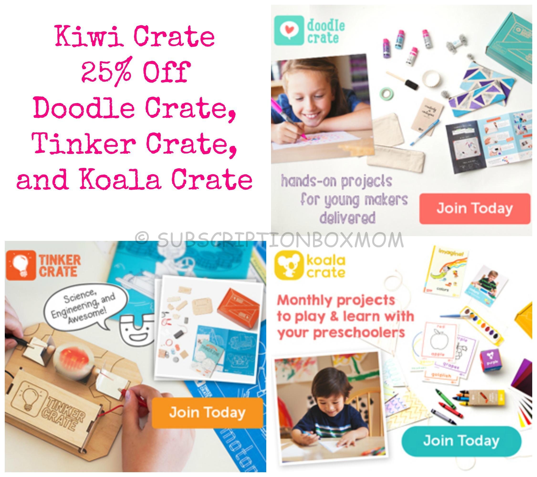 Koala Crate - Kiwi Crate -Tinker Crate - Doodle Crate Coupons