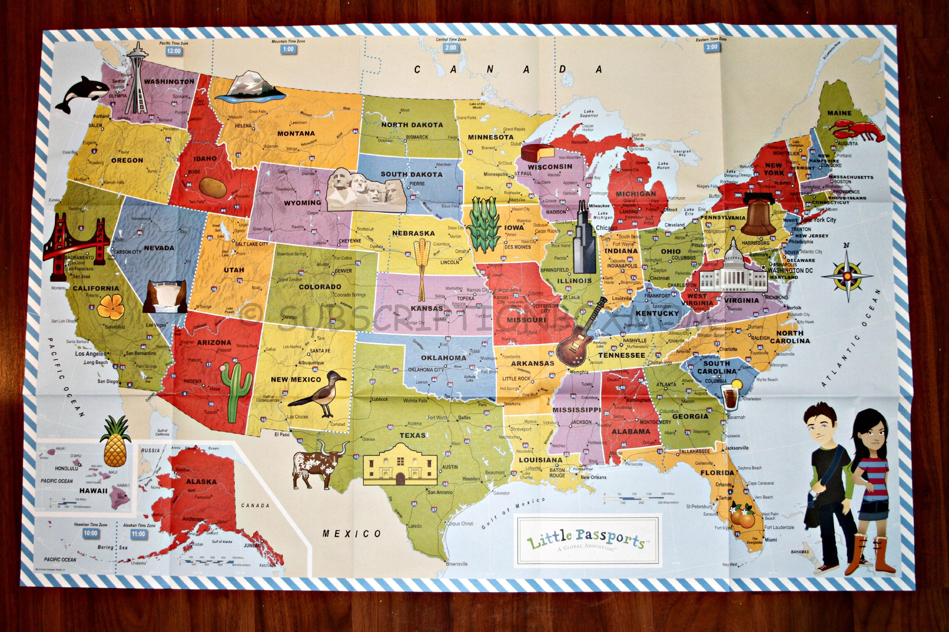 map us landmarks passports usa edition discovery kit review subscription box map us landmarks passports usa