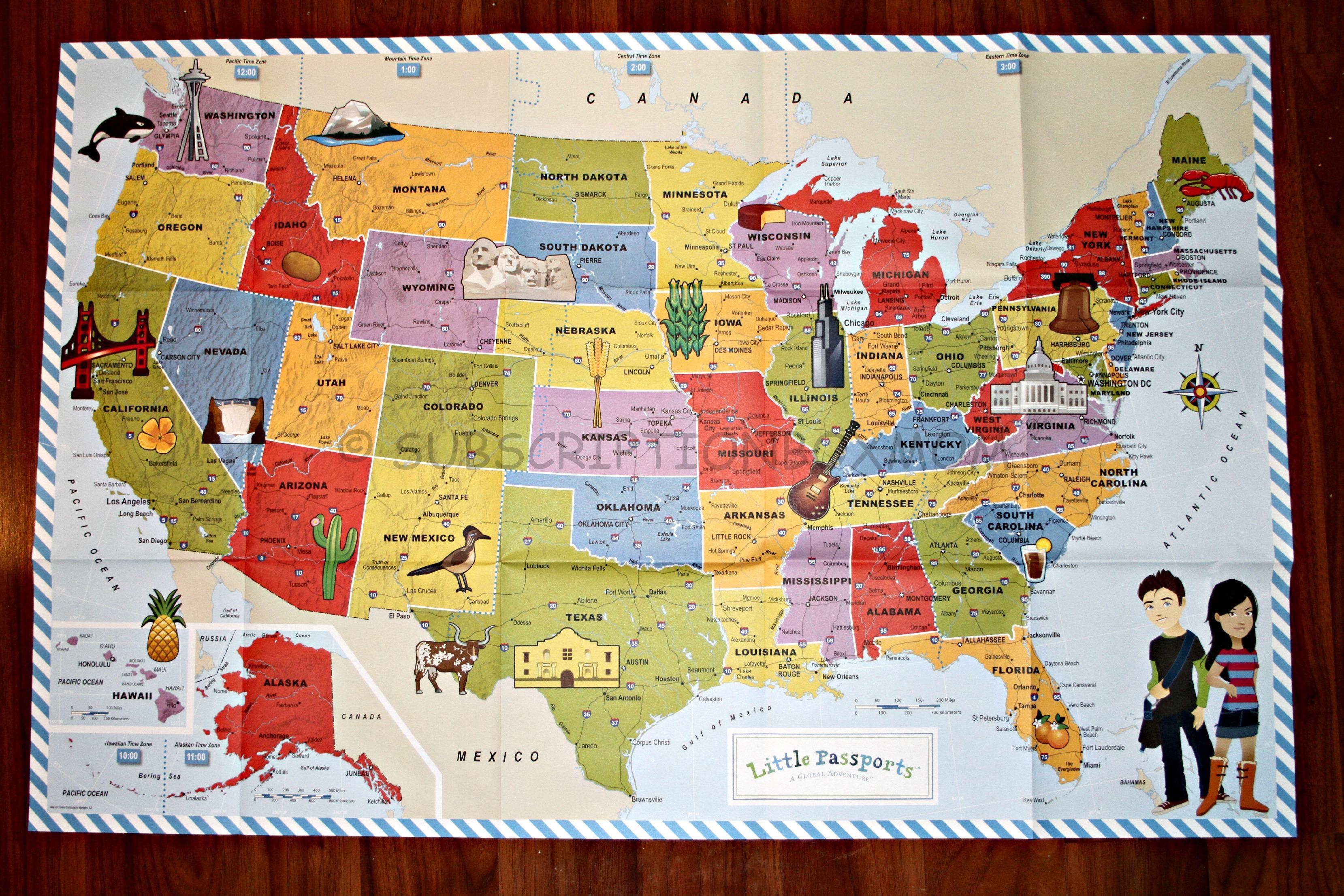 map us landmarks passports usa edition discovery kit review subscription box map us landmarks passports usa