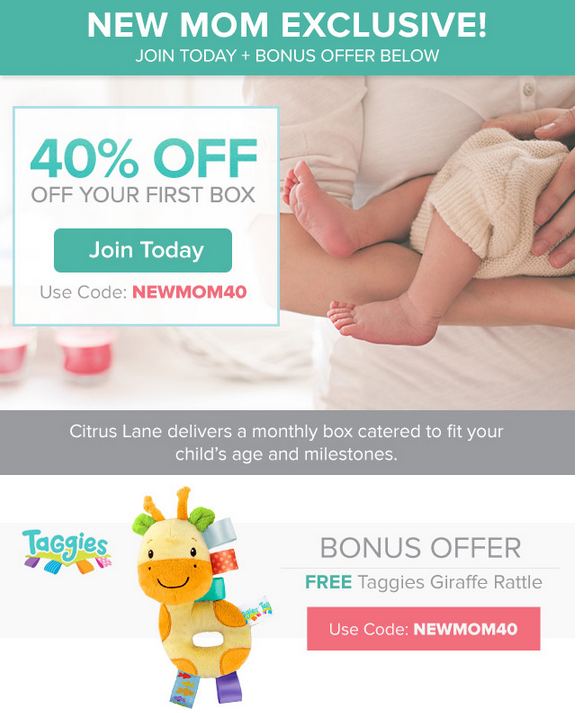 Citrus Lane 40% Off + FREE Taggies Giraffe Rattle