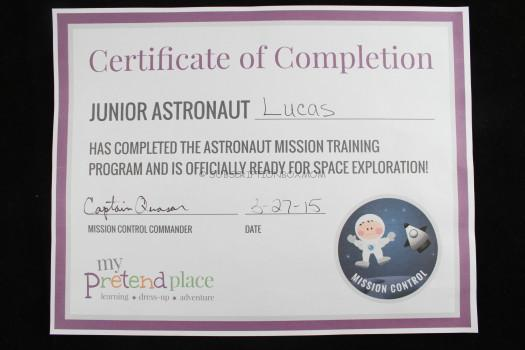 My Pretend Place Junior Astronaut Certificate of Completion