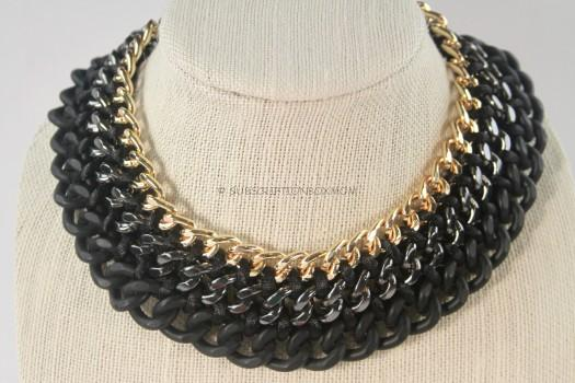 Obsidian Mixed Metal Links Necklace