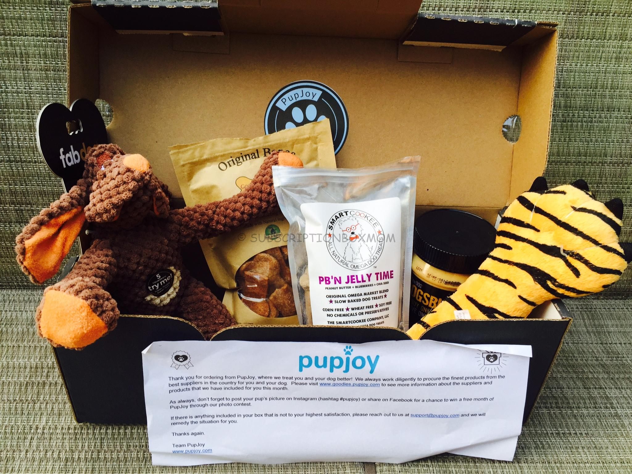 Pupjoy August 2015 Review Coupon Dog Subscription Box
