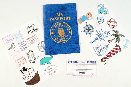Passport, License, stickers