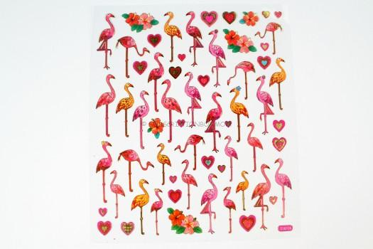 Flamingos and hearts