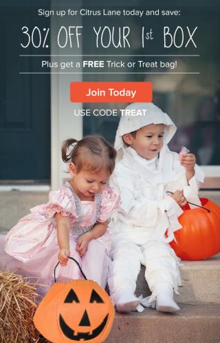 Citrus Lane FREE Trick or Treat Bag + 30% off 1st Box