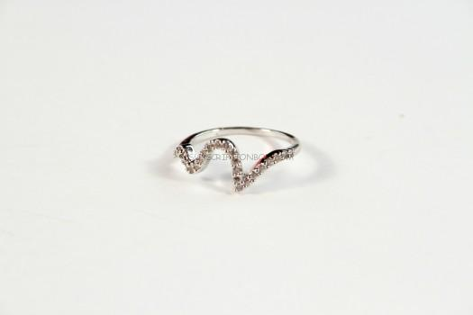 Wanderlust + Co Wave Crystal Ring in Silver