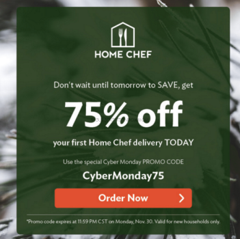 Home Chef Cyber Monday 2015 75% Off Deal Plus $10.00 Bonus