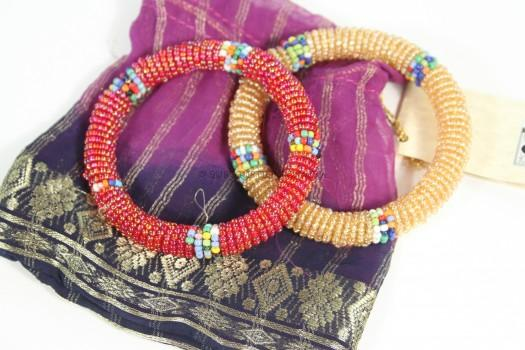 Jedando African Handicrafts Maasai Bangles Pair with Upcycled Sari Pouch