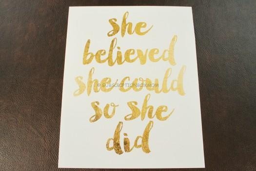 """She Believed She Could So She Did"" Quote Printable Rose Gold Print"