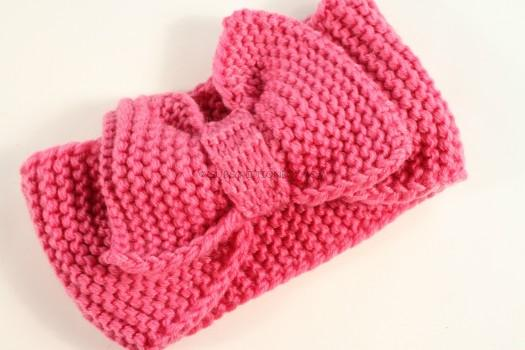 Pink Bow Knit Headband