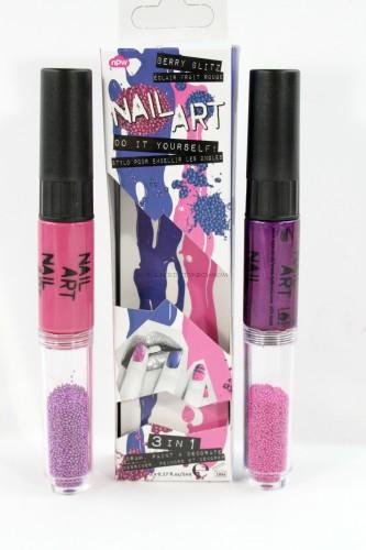Nail Art Pink & Purple Caviar Duo