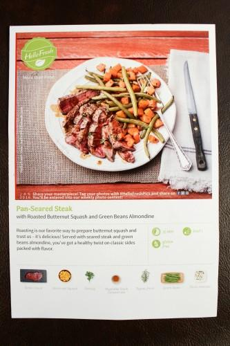 Pan Seared Steak with Roasted Butternut Squash and Green Bean Almondine: