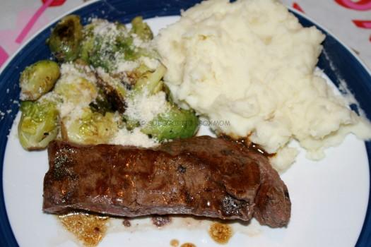 Sherry Wine Demi-Glace Flat-Iron Stead with Whipped Potatoes and Balsamic Brussels Sprouts: