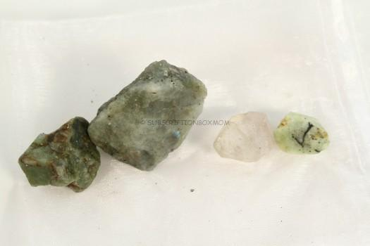 peridot, quartz point and labradorite.