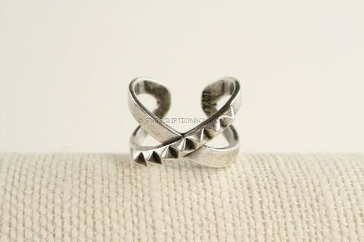 Luv AJ The Criss Cross Punk Stud Ring in Silver