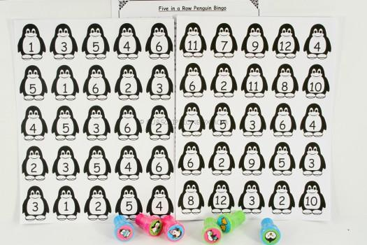 Five in a Row Penguin Bingo