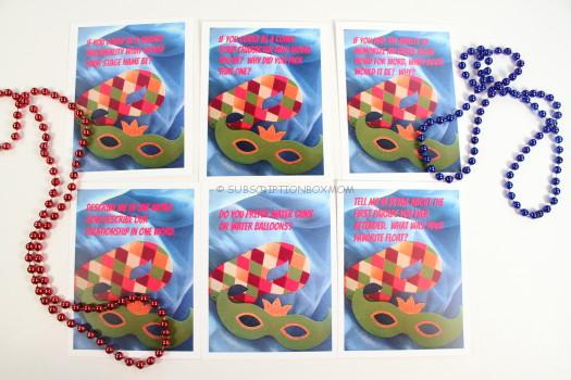 Conversation Cards and Mardi Gras Beads