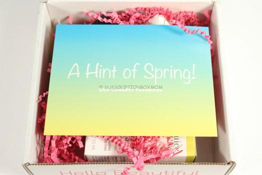 "The theme for March is ""A Hint of Spring""."