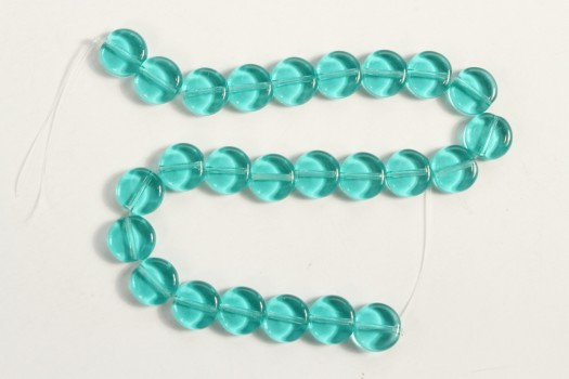 8x3mm Lt Teal Dime Beads (Czech Glass)