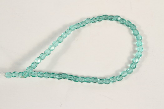 3mm Lt. Teal Fire Polishe Faceted Rounds (Czech Glass)