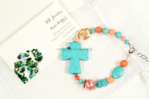 Turquoise and Coral Cross Bracelet