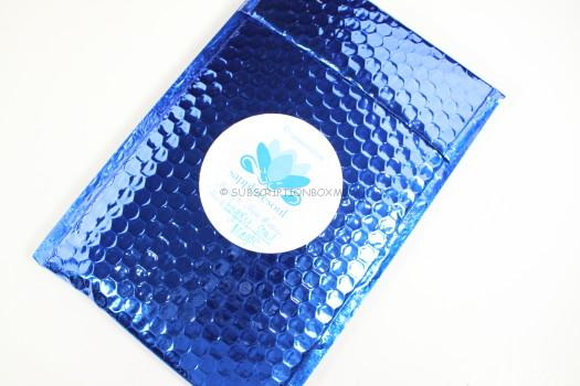 apphire blue padded envelope.