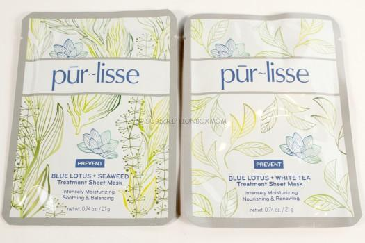 pur~lisse Beauty Blue Lotus + White Tea Sheet Mask & Blue Lotus + Seaweed Sheet Mask