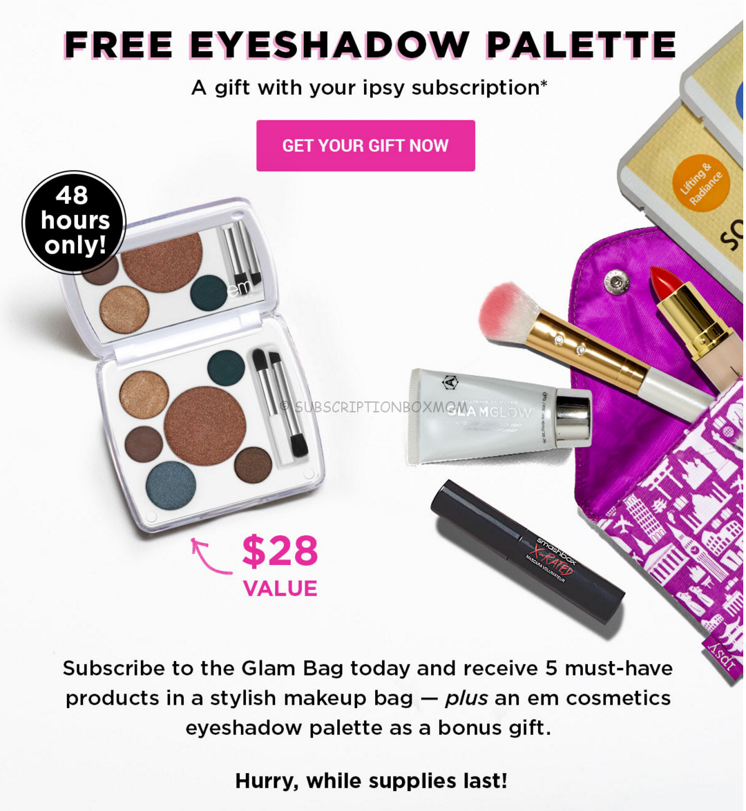 New Ipsy Coupon - Free Em Eyeshadow Palette 48 hrs Only