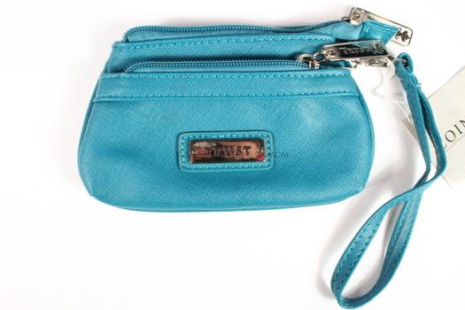 "Fine Textured Vinyl Wristlet Coin Purse w/""Trust"" Badge (Blue)"