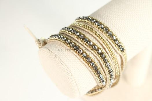 Nakamol Brown and Gold Beaded Wrap Bracelet