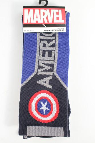 Marvel Captain America Text Mens Active Crew Socks