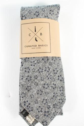 Curated Basics Grey Floral Tie