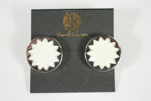House of Harlow 1960 Engraved Sunburst Studs in White