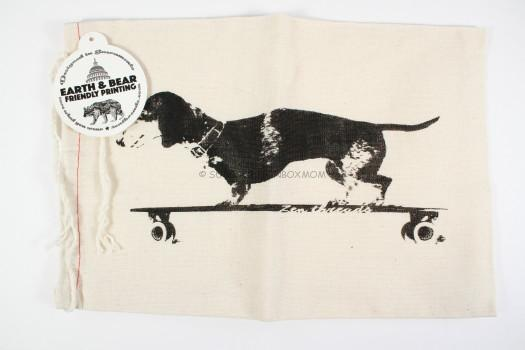 Longboard Dachshund - Hand Printed Drawstring Reusable Cotton Bag