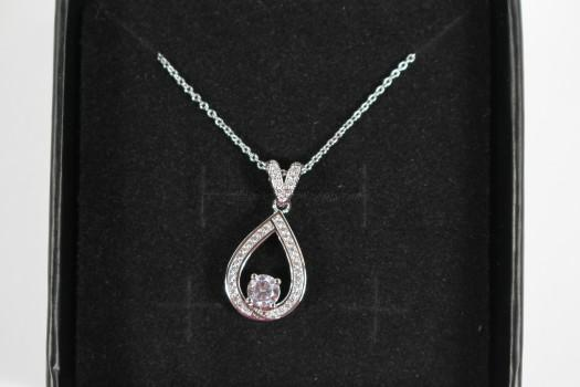 """Arabella """"Muse"""" 18k White Gold Plated Necklace"""