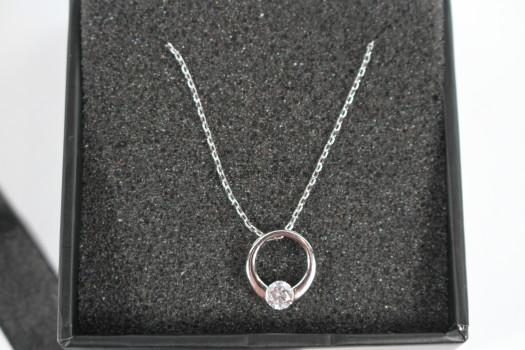 "Dahlia ""Blossom"" Sterling Silver 18k White Gold Plated Swarovski Circle Necklace"