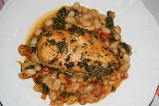 CHICKEN LIVORNO with White Beans & Kale