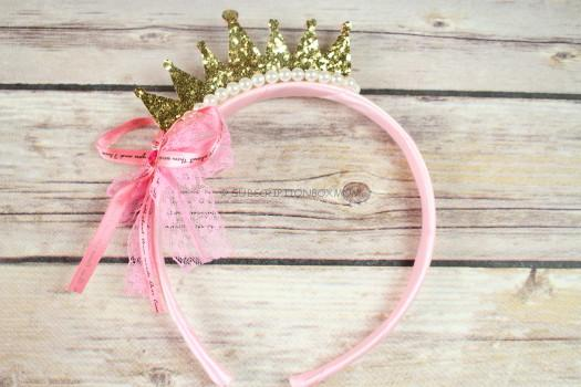 Gold and Pink Glitter Tiara Headband