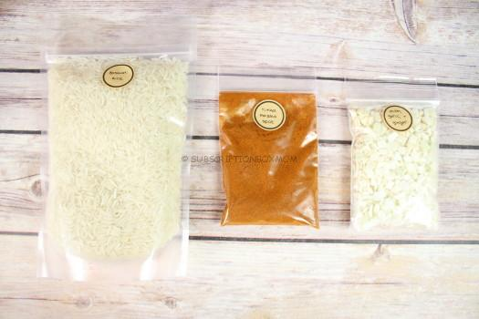 Basmati rice, Tikka masala spice blend and onion, garlic & ginger blend