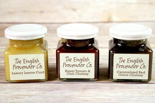 The English Provender Co: Luxury Lemon Curd, Sweet Tomato & Chili Chutney and Carmelized Red Onion Chutney.