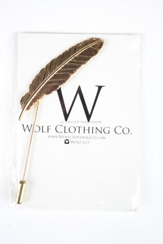 Wolf Clothing Co. Gold Feather Lapel Pin